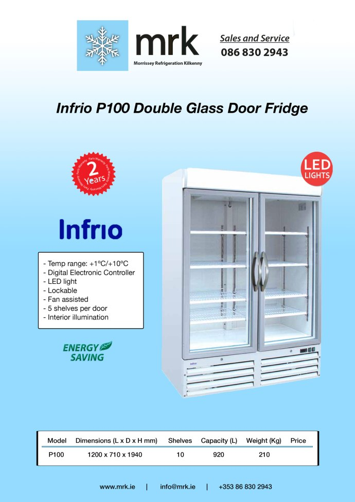 Infrio-P100-Double-Glass-Door-Fridge