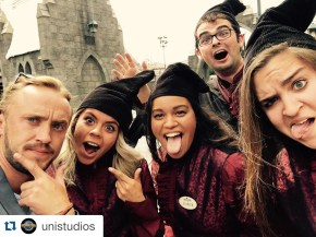 Photobombing a selfie with Tom Felton (aka Draco Malfoy) at The Wizarding World of Harry Potter.