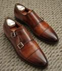 Cap Toe Double Monk Strap Shoe