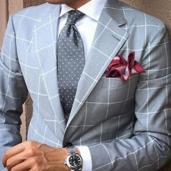 Light Gray Suit and Red pocket square