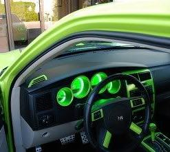 Dodge Charger Sublime Green Cluster Halo Rings