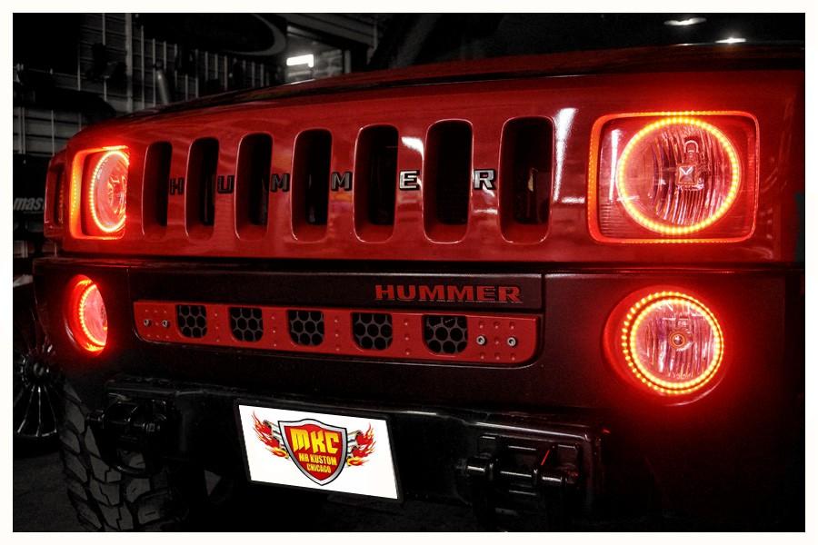 Hummer H3 Red Halo Lights