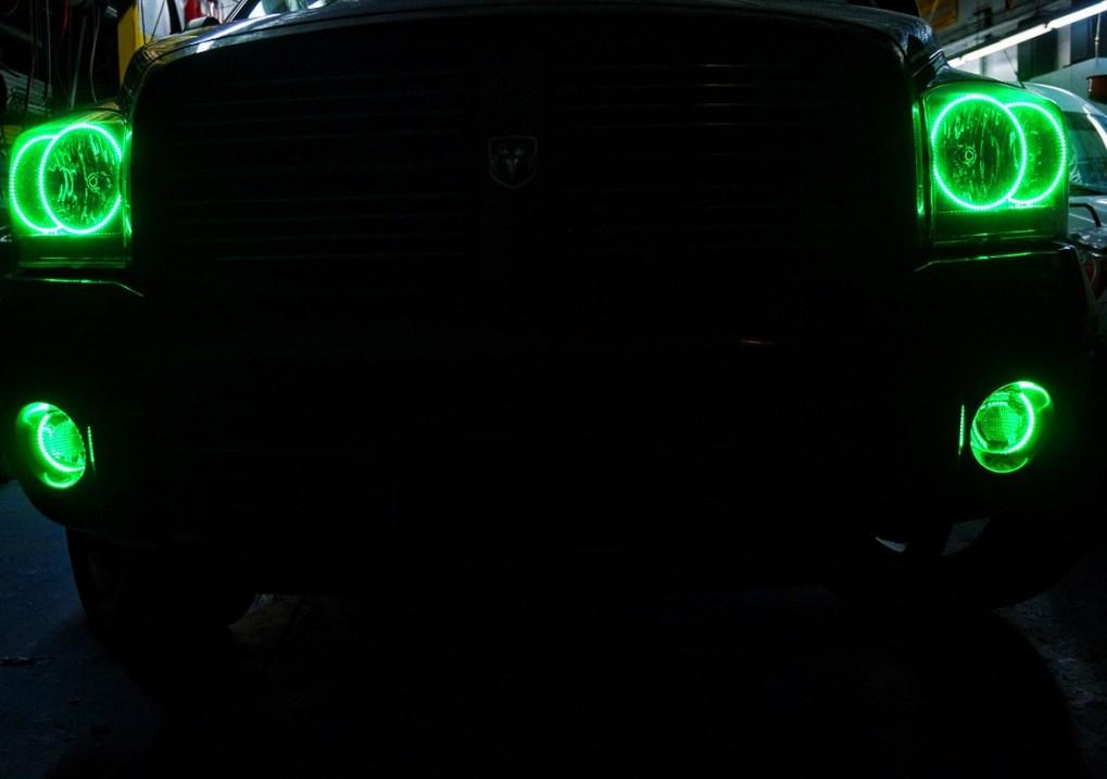 2006 Dodge Ram Green Oracle Halo Headlights