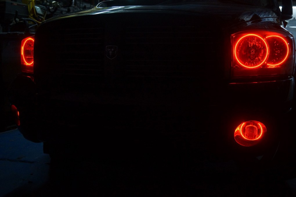 2006 Dodge Ram Red Oracle Halo Lights Rings
