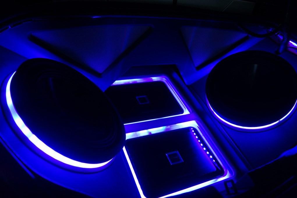 Alpine Custom Speaker Box Purple LED Lights