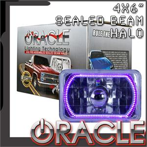 Pre-Installed Purple Halo Lights Sealed Beam 4x6