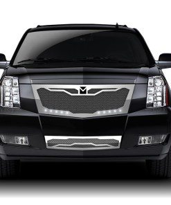 Macaro Primary Grille for 2008-2014 Cadillac Escalade fits Premium And Platinum Edition Only models (Matte black finish)
