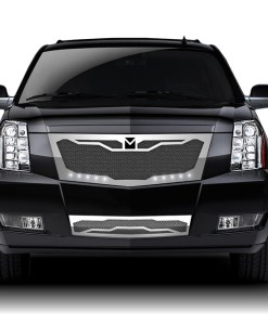 Macaro Lower bumper grille for 2008-2014 Cadillac Escalade fits Premium And Platinum Edition Only models (Triple Chrome finish)