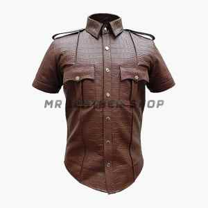 Crocodile Leather Shirts Brown