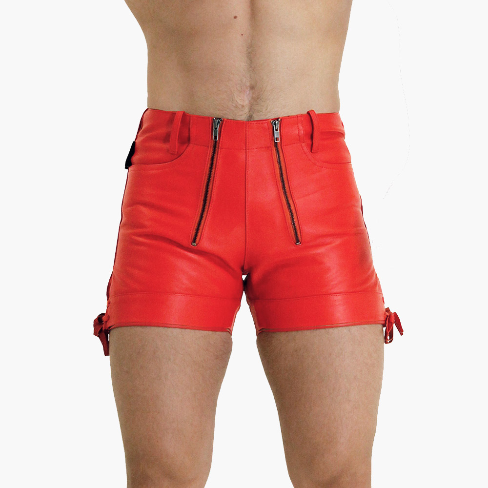 Mens-Red-Leather-Shorts