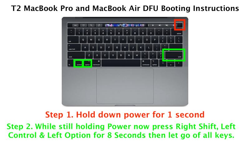 MrMacintosh.com - DFU T2 Booting Instructions - Make sure the Mac is OFF. Hold down power for 1 second then also hold Right Shift, Left Control and Left Option for 8 total seconds then let go.