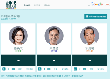 [Live]Google推出最新2016總統大選網站,即時查票數和LIVE開票結果