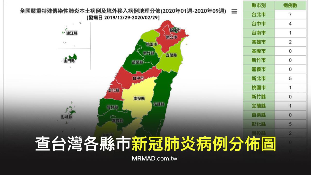 如何查臺灣各縣市「新冠肺炎病例分佈圖」?透過衛福部網站告訴你 - 瘋先生