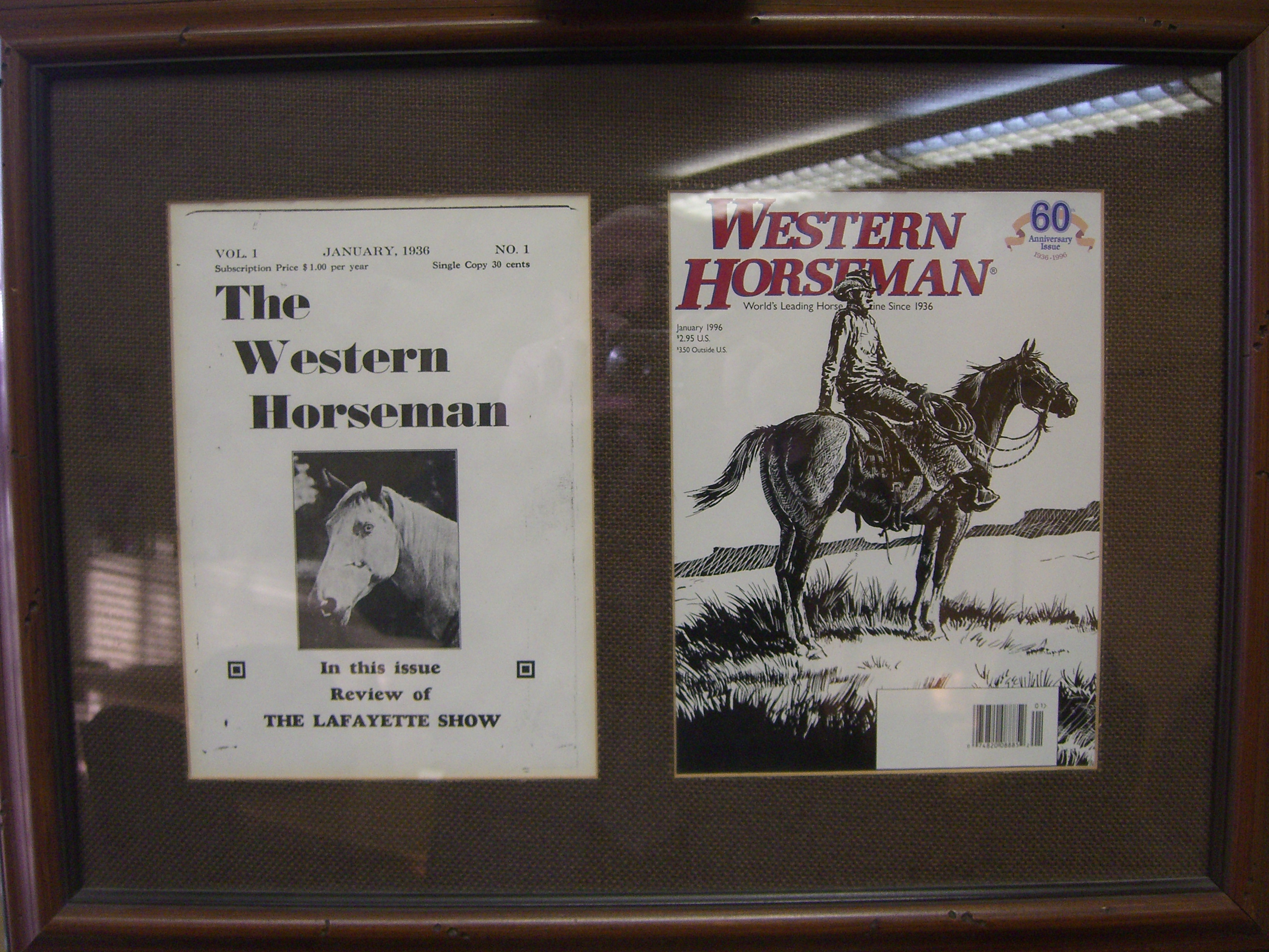 The first and 60th anniversary issues of Western Horseman