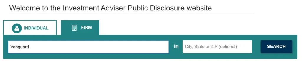SEC - Vanguard advisors registration