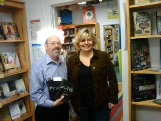 Mr. Media (Bob Andelman) and young adult author Lisa McMann at Inkwood Books in Tampa