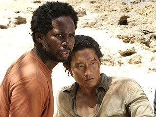 "Harold Perrineau, Daniel Dae Kim, in a scene from ""Lost,"" Mr. Media Interviews"