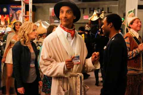 "Inspector Spacetime -- ""Conventions of Space and Time"": (l-r) Gillian Jacobs as Britta, Danny Pudi as Abed, Donald Glover as Troy -- (Photo by: Vivian Zink/NBC)"