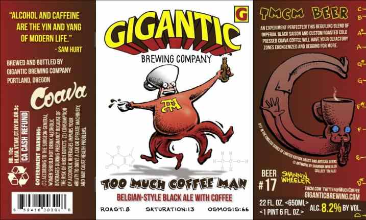 Gigantic Brewing, Too Much Coffee Man beer label, Shannon Wheeler, Mr. Media Interviews