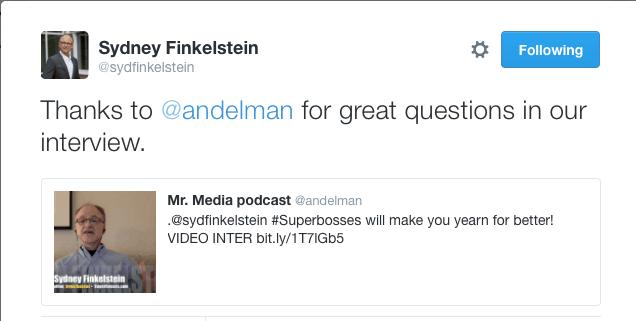 Sydney Finkelstein, author, Superbosses, Mr. Media Interviews