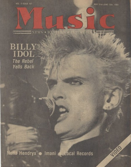 Billy Idol on the cover of Music magazine, photograph by Dennis Osborne, Mr. Media Interviews