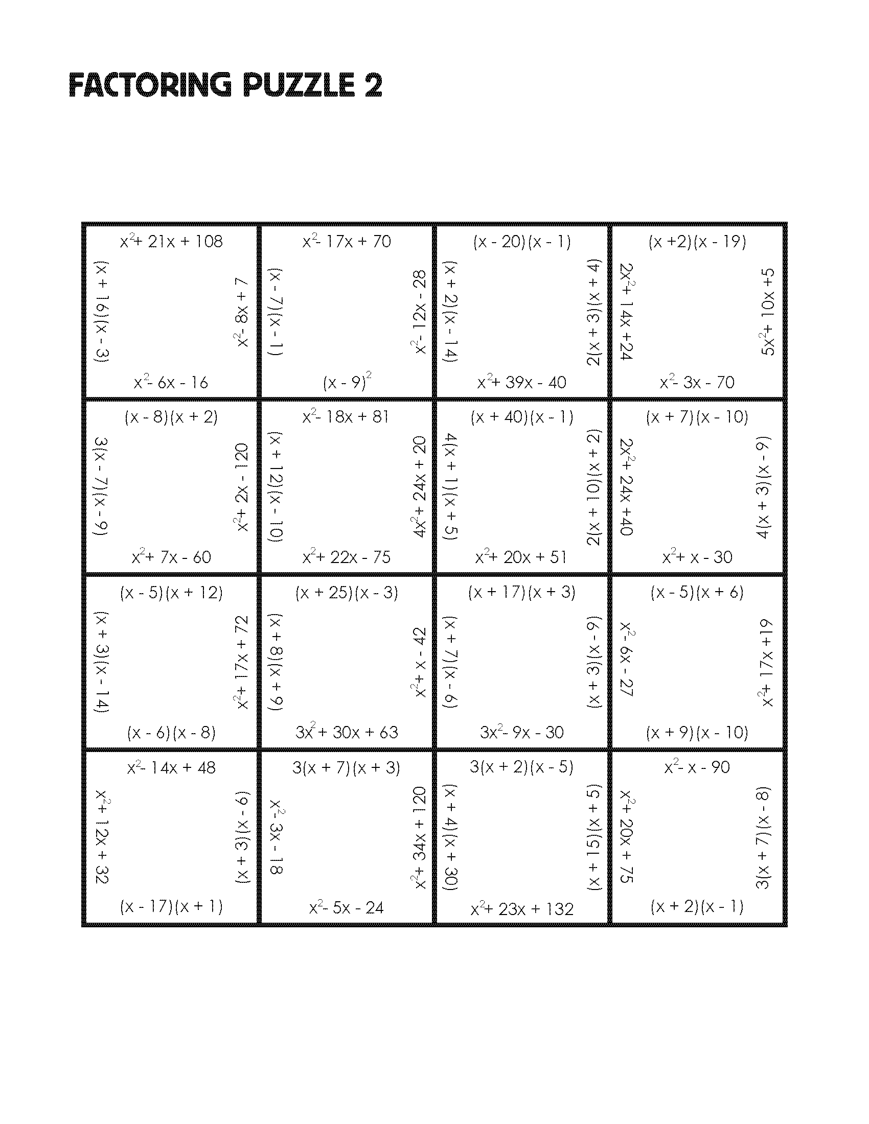 Factoring Puzzle Practice Version