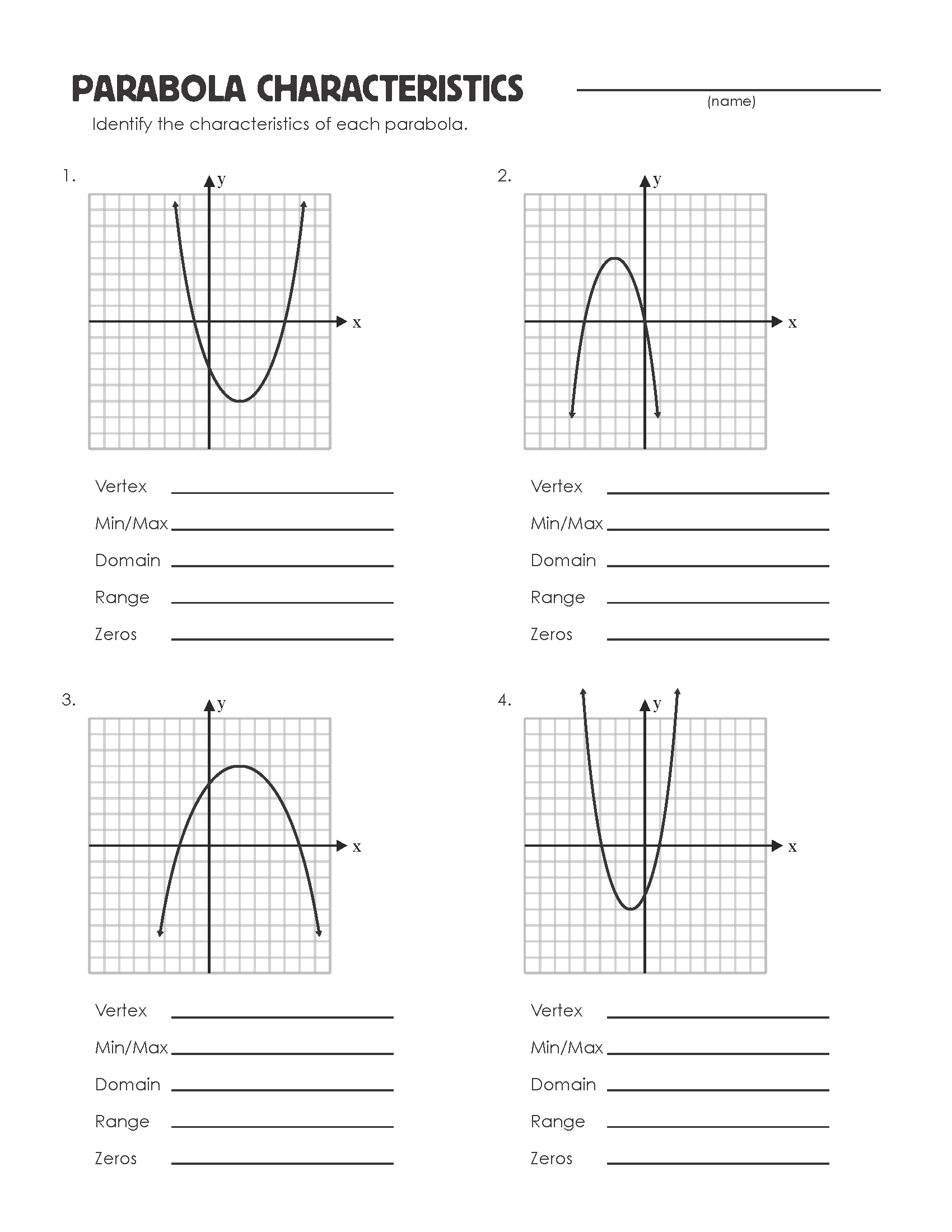 Parabola Review Worksheet