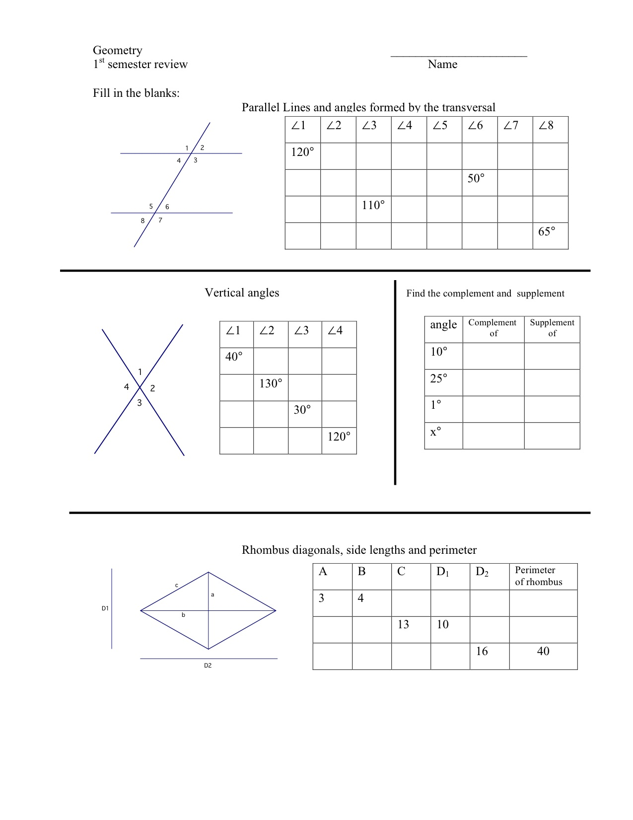 Geometry First Semester Review Worksheet