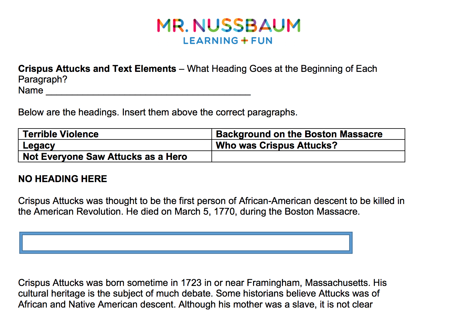 Mr Nussbaum Reading Comprehension Printable That Are Crush