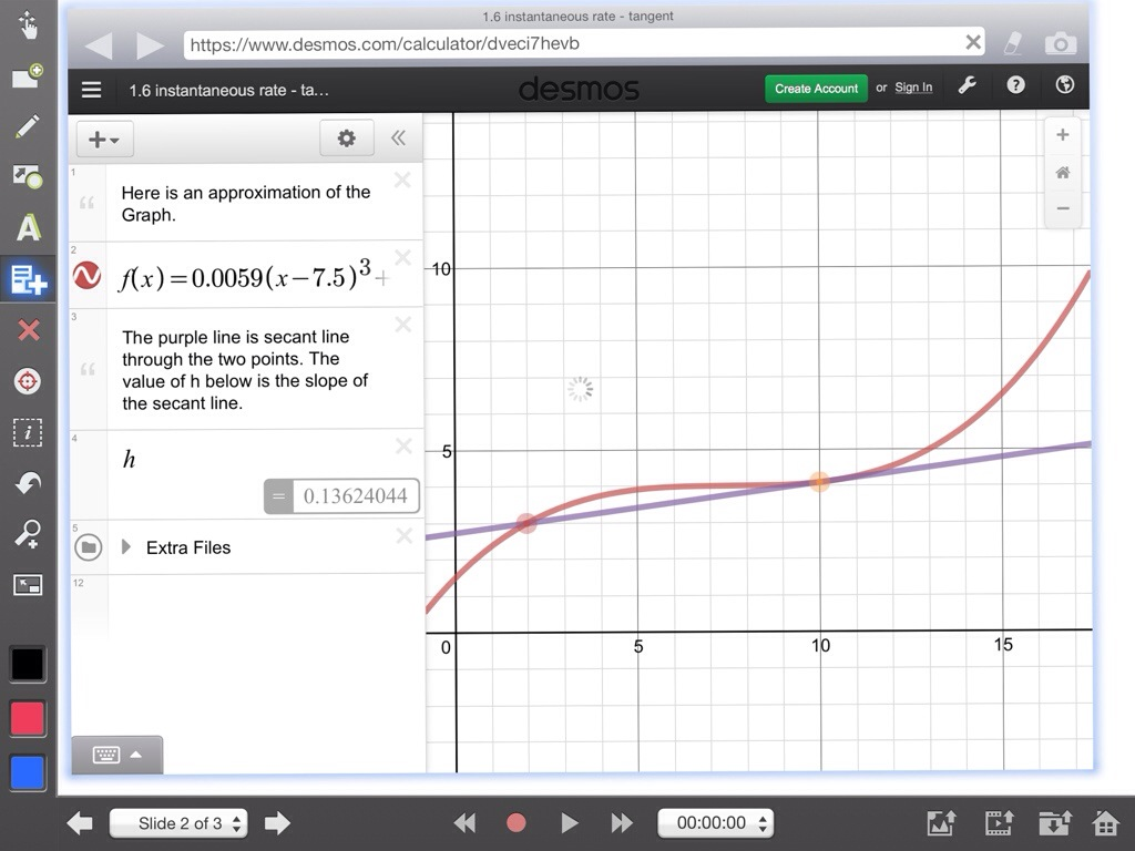 desmos how to find instantaneous rate of change