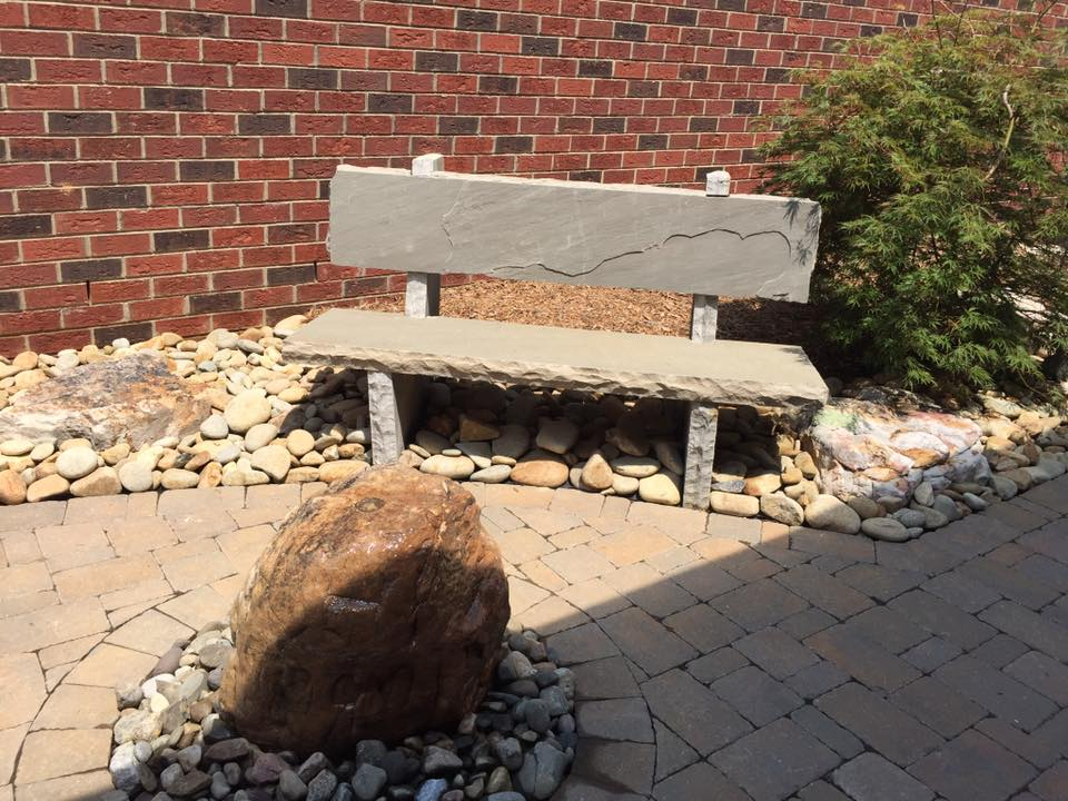 River Rock Bench with water feature