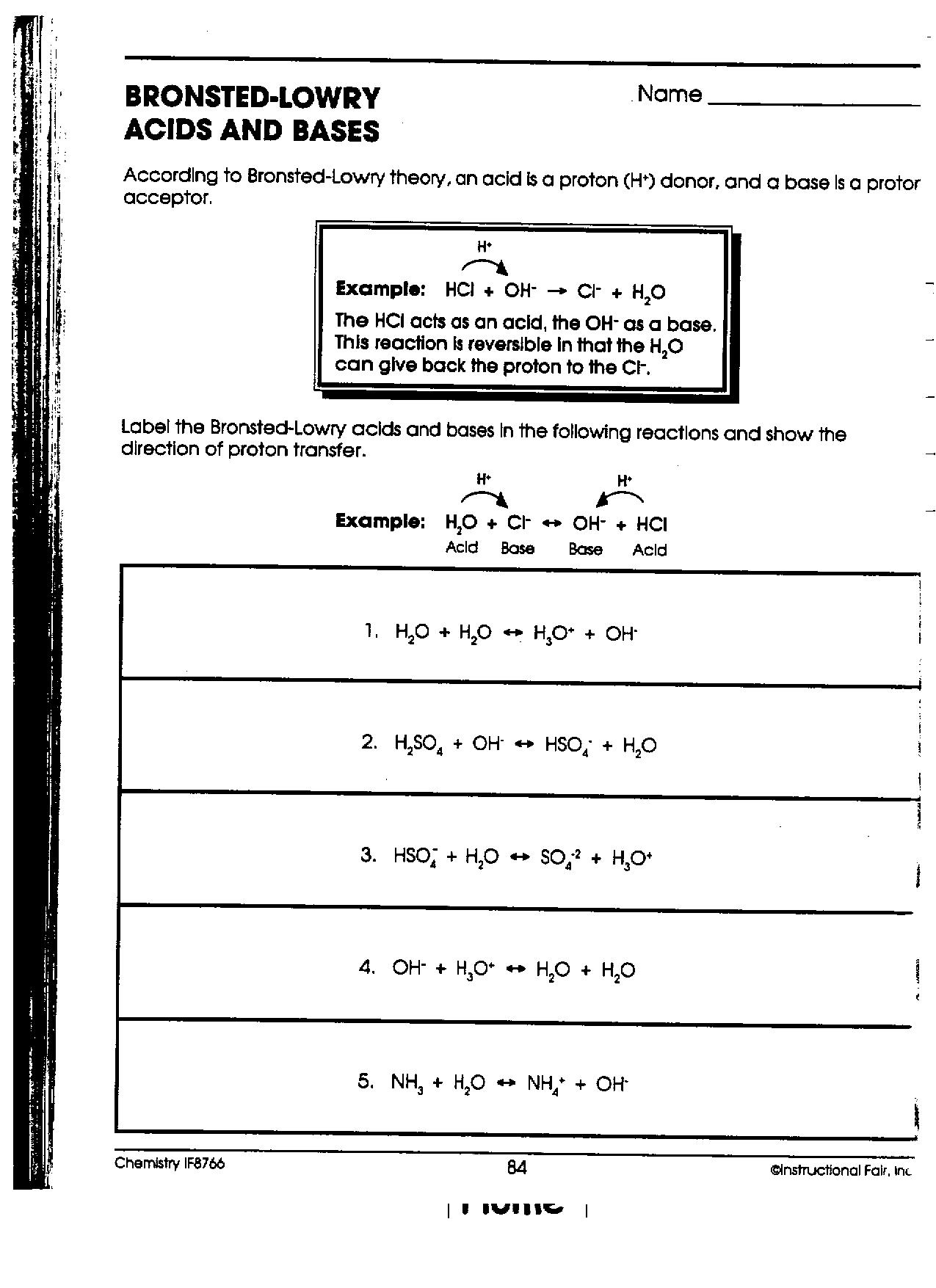 Bronsted Lowry Acids And Bases Worksheet Answers