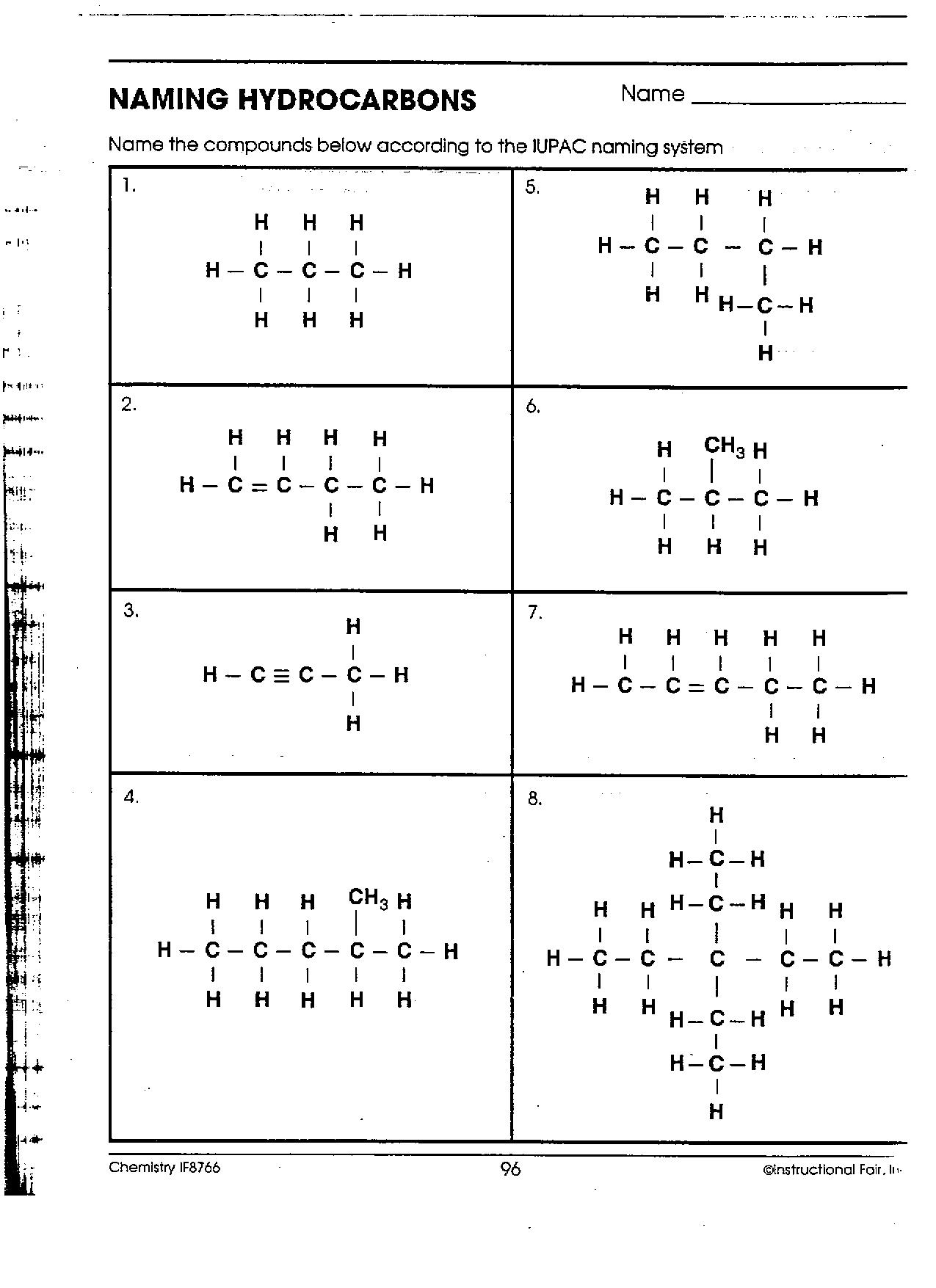 Worksheet Naming Hydrocarbons Answers
