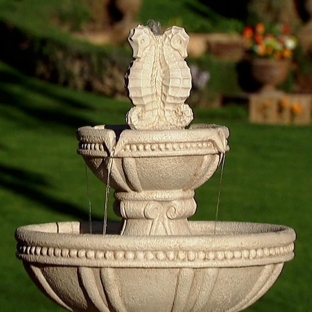 Water fountain with seashorses