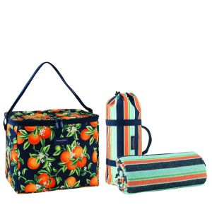 Cooler and picnic blanket