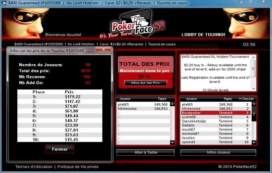 une troisième place de Boutpoker sur pokerface52