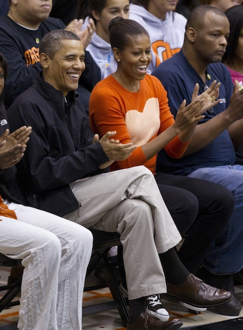 President and Mrs. Obama at Towson basketball game