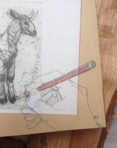 Corner of a page in the book of a pencil drawn hand holding a pencil that is adding the final touches to a drawing of a lamb
