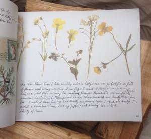 page of a book with yellow and orange flowers above a handwritten paragraph