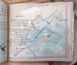 Page of the book with a poem and a drawing of a kingfisher on a branch