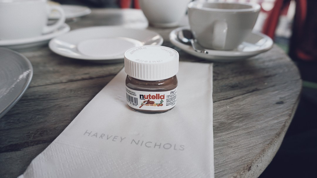 Tiny Nutella jar. The Fifth Floor Terrace at Harvey Nichols.