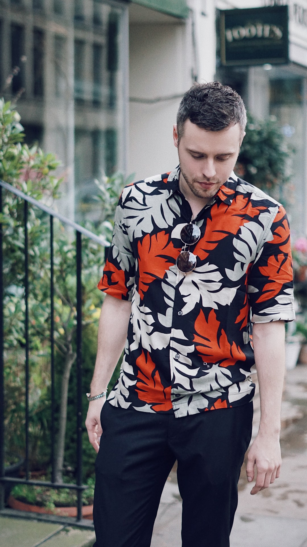 Plants and Leaves. Wearing S-WESTY Leaf Print Jersey Short Sleeve Shirt from Diesel, Skinny Cropped Trousers from Noak and Black Buckle Slip Ons from Primark. Snapped in Fitzrovia. Mr. Salt and Pepper by Skirmantas Petraitis