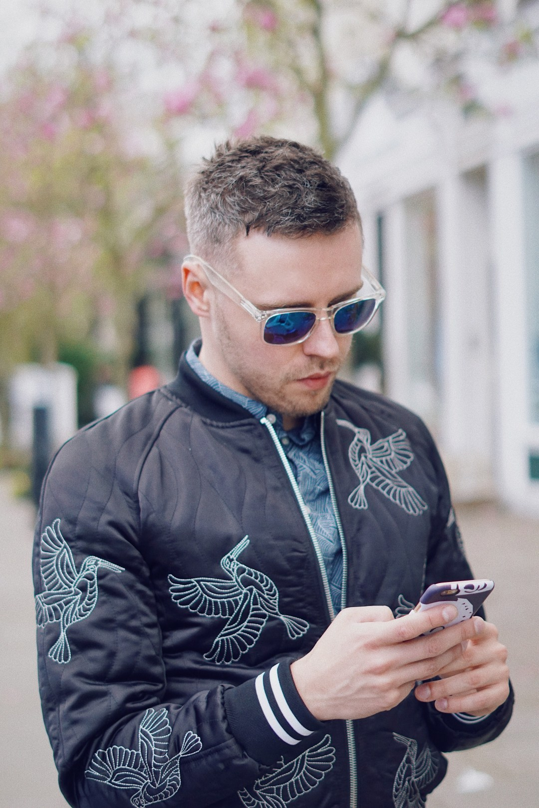 Hummingbirds in April. Wearing Bomber-style jacket with embroidered hummingbird detail from Zara and Shirt from H&M. Snapped in Notting Hill / Mr. Salt and Pepper blog by Skirmantas Petraitis