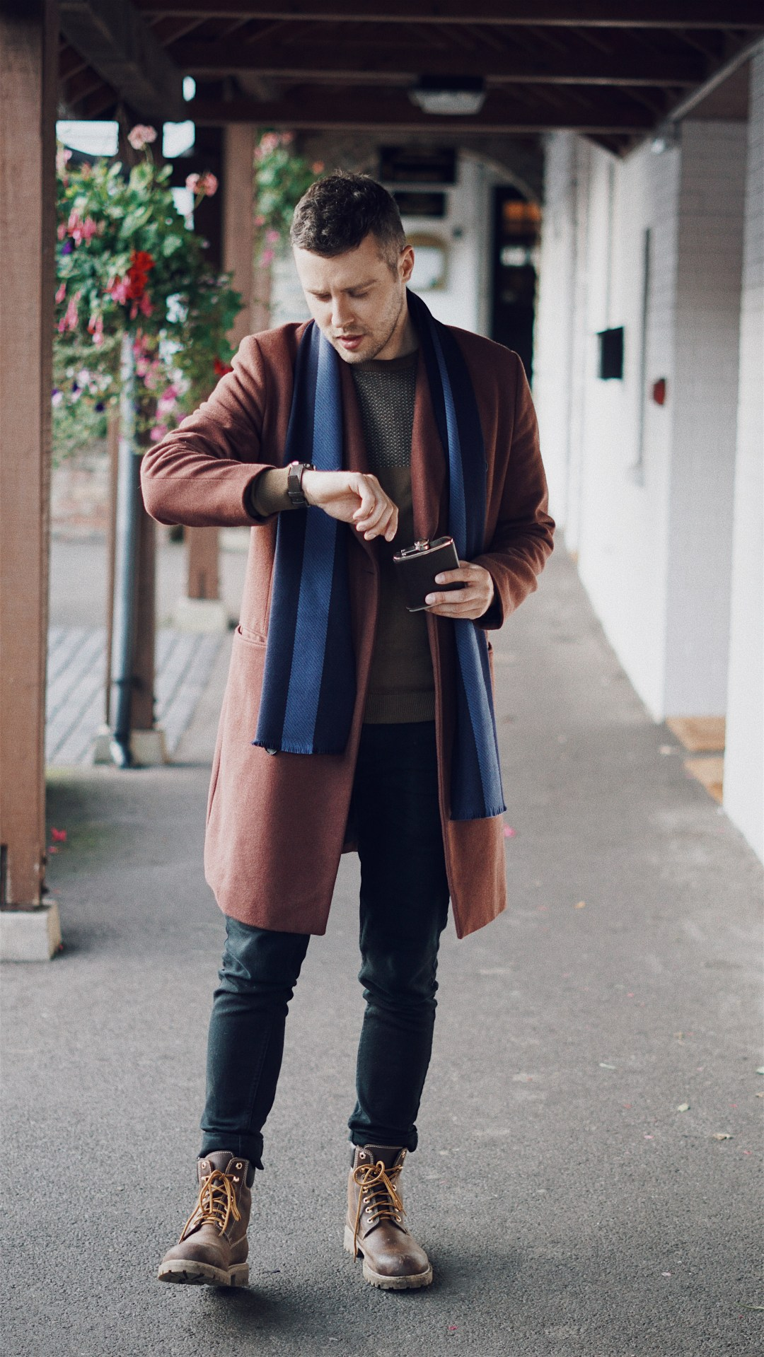 We are TIMEX. Wearing TIMEX Easy Reader® 40th Anniversary Special Edition, The University Stripe Pure Wool Scarf from Aspinal of London, ASOS Wool Mix Double Breasted Overcoat In Rust, NEXT Tan Colourblock Crew and Leather Work Boots in Brown. Blog by Skirmantas Petraitis.