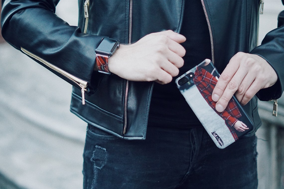 Case Station Custome-made iPhone Snap Case and Apple Watch Strap. Wearing Zara Sequinned Biker Jacket. Snapped by Victoria Ambrosino (@Philorose). Blog by Skirmantas Petraitis.