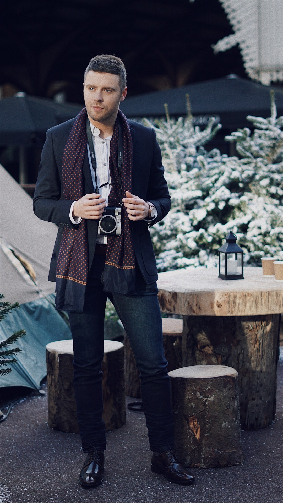 The Party Season at Debenhams. The Winter Forest at Broadgate. Wearing a navy textured single breasted wool blend jacket from J by Jasper Conran, navy geometric print dress scarf from Hammond & Co. by Patrick Grant, white striped print tailored fit shirt from The Collection, dark blue 'Bryson' skinny jeans from Wrangle, brown patent leather Derby shoes from Red Herring and Sekel Role Gold Watch With Silver Dial and Brown Leather Strap from Kronaby Sweden. Blog by Skirmantas Petraitis.