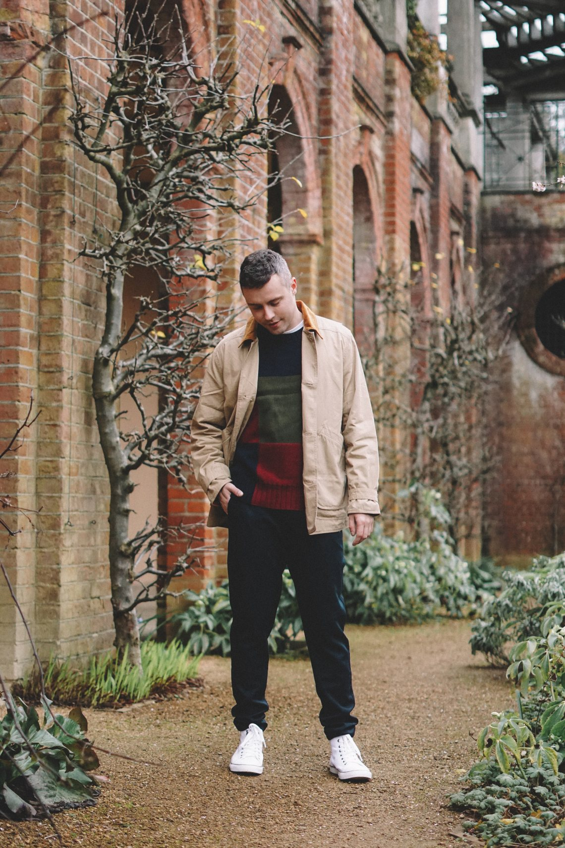 The Hill Garden and Pergola in Hampstead. Wearing J.Crew Heritage Barn Summer Jacket, Colourblock Jumper, We Are Cph Janzik Trousers in Navy and Calvin Klein Jeans Arthur High Top White Trainers. Found in Zalando Man. Blog by Skirmantas Petraitis.