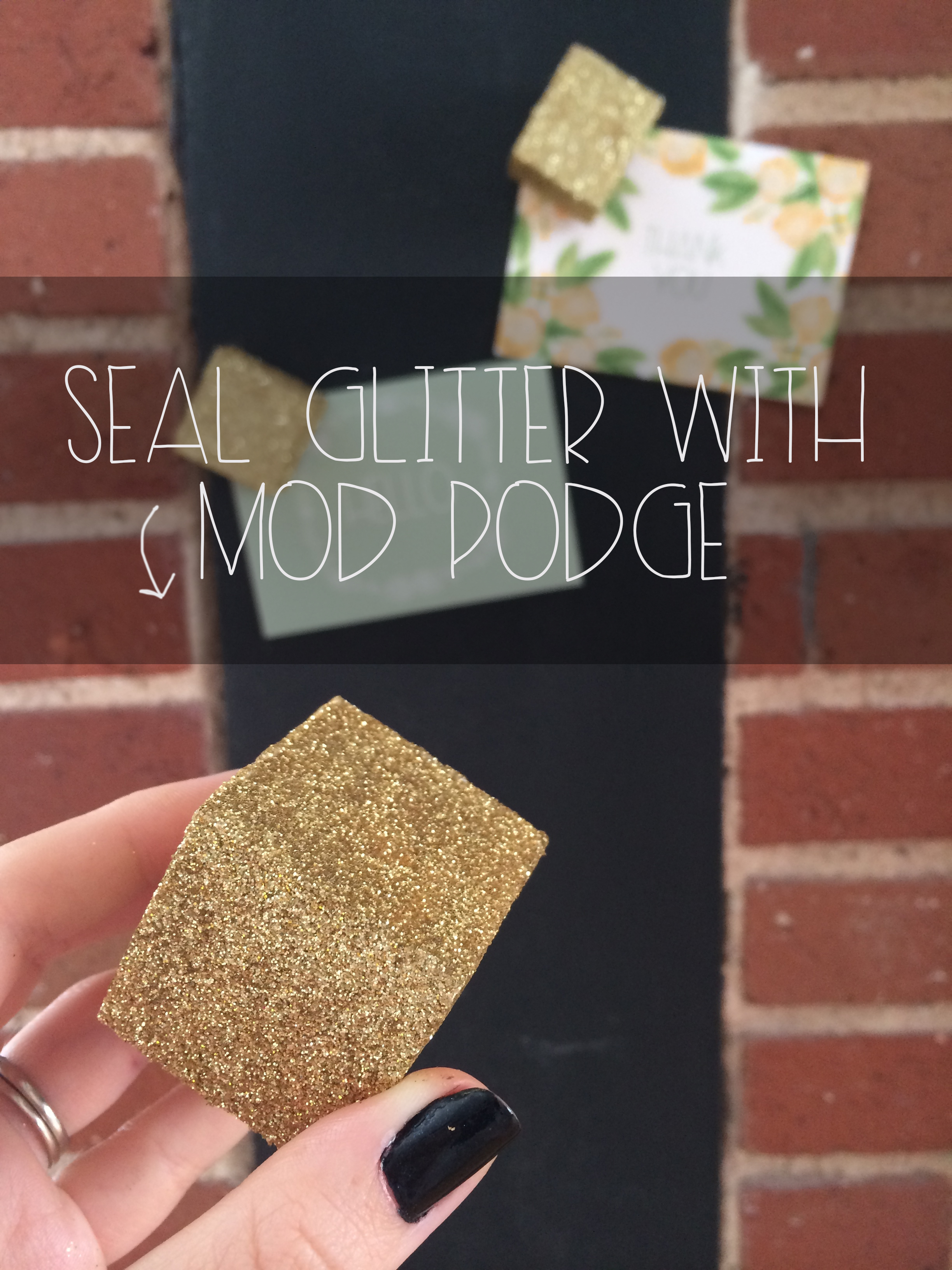 Seal with Mod Podge for Glitter Cube Magnets | Red Autumn Co