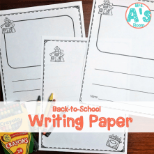 Back-to-School Writing Paper for Preschool, Pfre-K, and Kindergarten