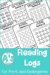 Reading Logs for Pre-K and Kindergarten